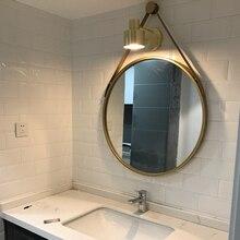 Espejo redondo con personalidad colgante para pared de hierro, espejo creativo para baño, decoración Simple para baño, espejo de tocador Q424