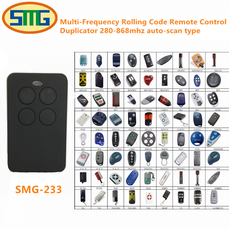 4 channel multi Frequency remote control a replacement for remotes with fixed and rolling code frequency from 280 to 868 MHz