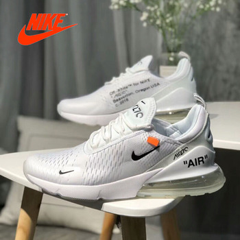 Original New Arrival Official Nike Air Max Breathable Cushion Sports Shoes White Black Men's Running Shoes  AH8050-100 1