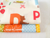 1 Meter Candy Letter Animal Zoo Blue Green Orange Yellow Cartoon Pure Cotton Twill Fabric For