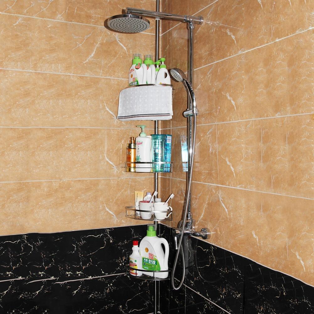 Stockage de produits de soins personnels puissants installation gratuite de l'étagère d'angle d'étagère de cadre de salle de bains suspendue à quatre couches d'acier inoxydable