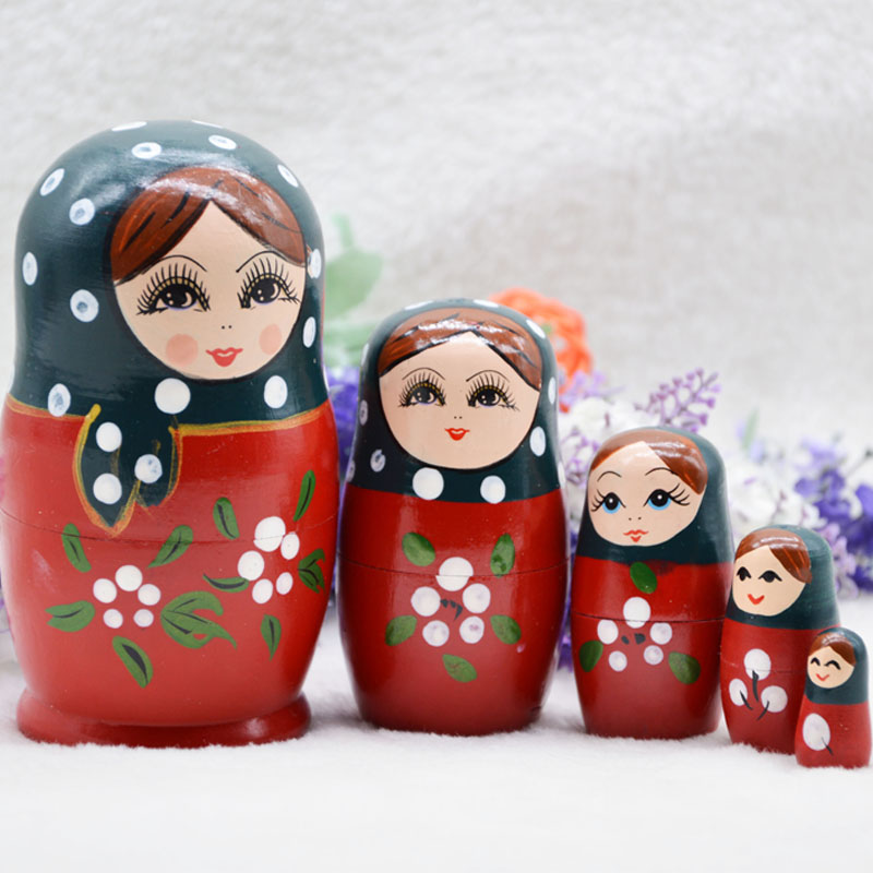 5 Layer Russian Dolls Red Girls Style Matryoshka Doll Creative Home Decoration Dolls Wooden Dolls for Children Education Toys