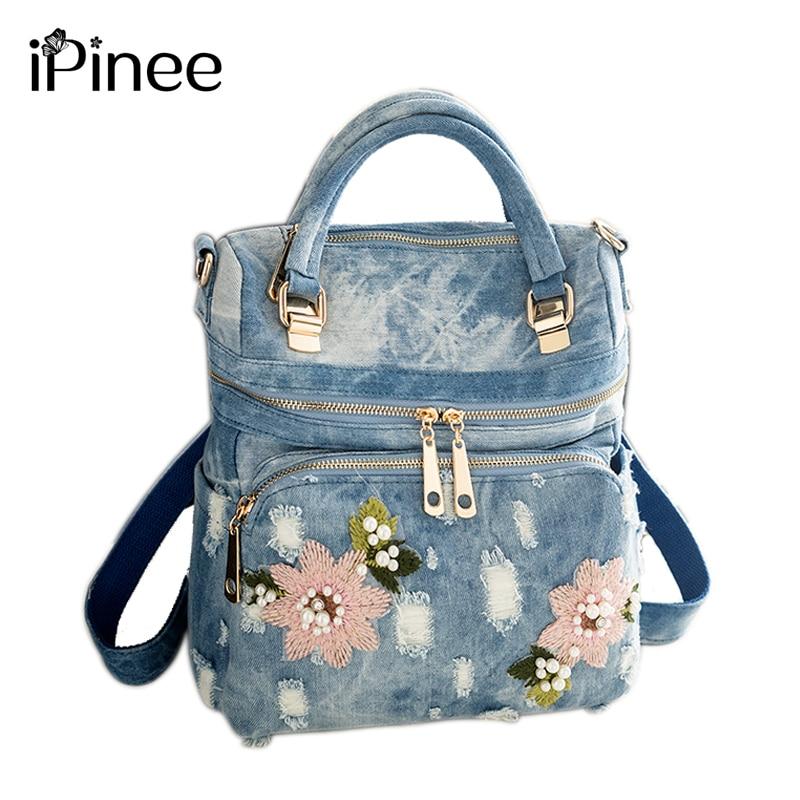 2019 iPinee Fashion Women Backpack High Quality Denim Backpacks for Teenage Girls Female School Shoulder Bag