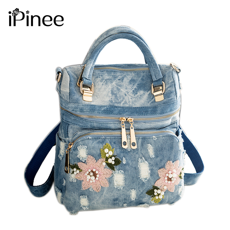 2019 IPinee Fashion Women Backpack High Quality Denim Backpacks For Teenage Girls Female School Shoulder Bag Bagpack Mochila