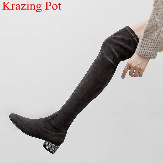 29b1cb33bd7b superstar flock high heels over-the-knee boots crystal elegant strech  zipper thigh high boots round toe brand winter shoes L21