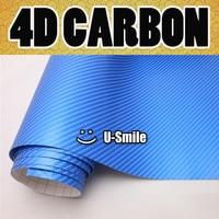 Pearl Blue Carbon Fiber Vinyl Wrap Pearl Blue 4D Carbon Film Vinyl Wrap Air Release Size:1.52X30M/Roll