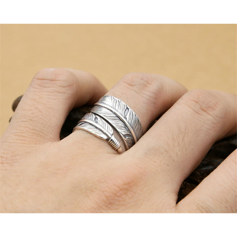 2019 Hot New 925 Sterling Silver Open Feather Goros Ring Adjustable Size Girl Jewelry Fashion Tide Flow High Quality Jewelry
