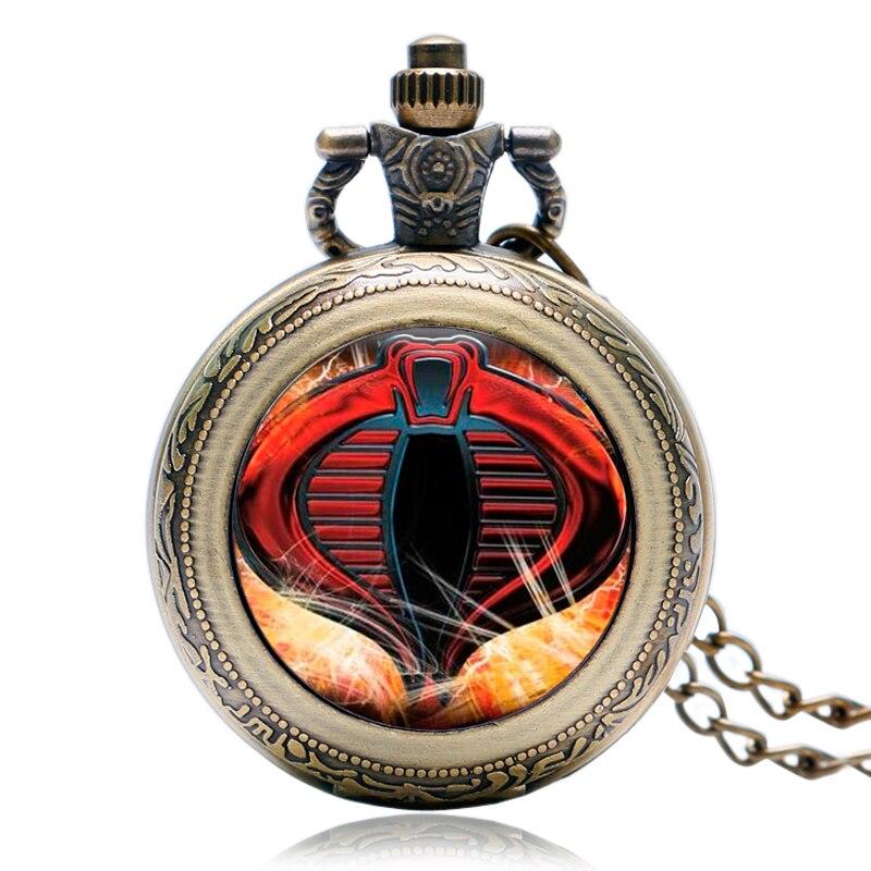 Vintage Rotatable Case Fashion Bronze Quartz Pocket Watch Clock Modern Snake Cobra Necklace Children Kids Boy Xmas Gifts