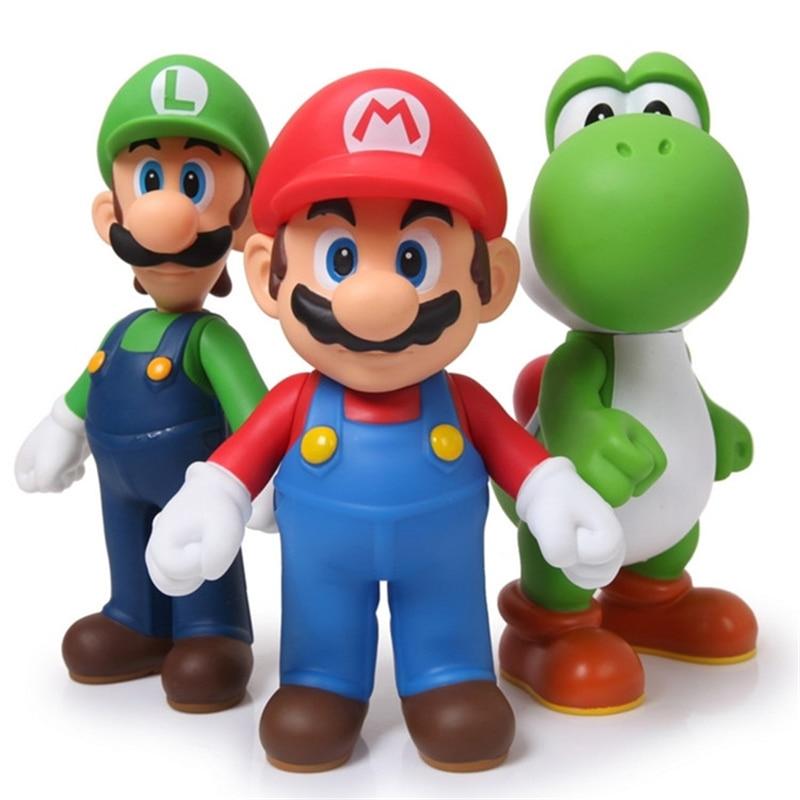 13cm 3pcs/lot Super Mario Bros Luigi Mario Yoshi PVC Action Figures toys shfiguarts super mario bros mario