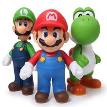 13cm 3pcs/lot Super Mario Bros Luigi Mario Yoshi PVC Action Figures toys