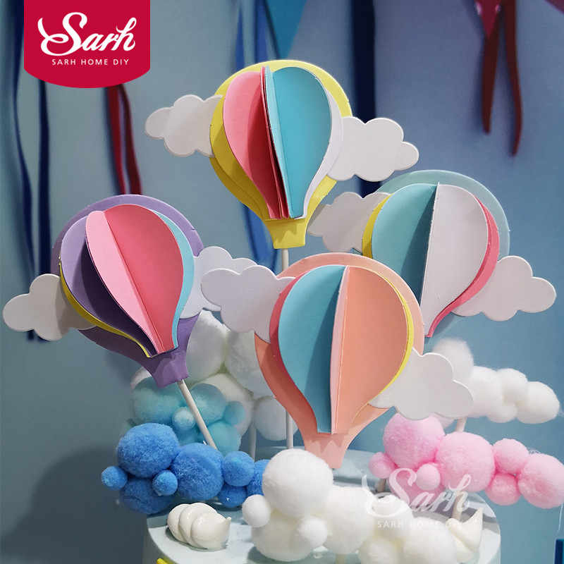 Pink Blue Purple Three-dimensional Hot Air Balloon Cake Topper for Party Decoration Dessert lovely Gifts