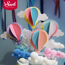 Pink Blue Purple Three-dimensional Hot Air Balloon Cake Topper for Party Decoration Dessert lovely Gifts недорого
