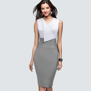 Women sleeveless Business Elegant Office lady dress Patchwork slim party summer pencil dress