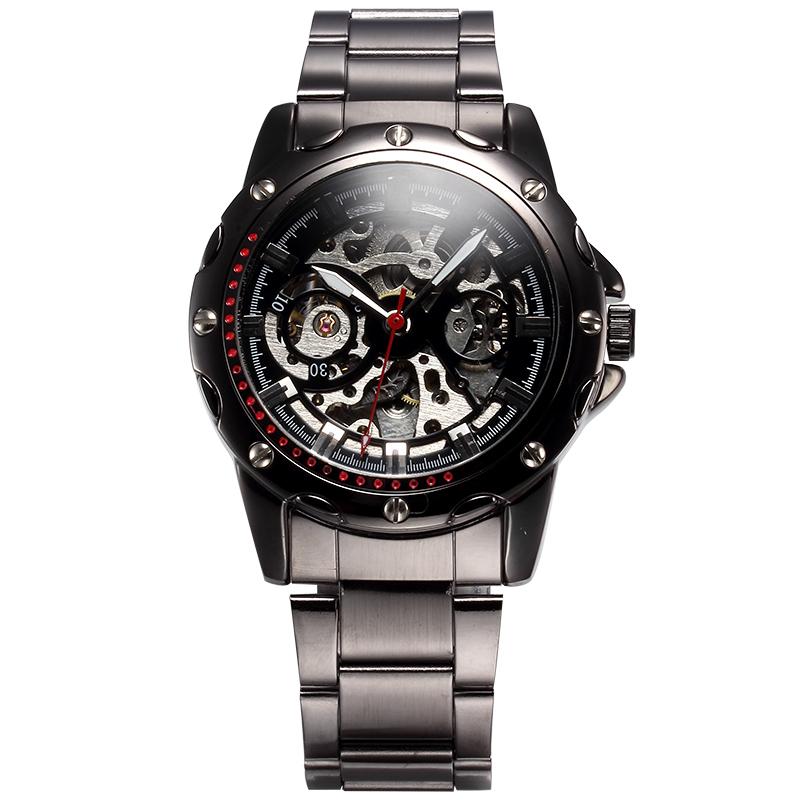 SHENHUA  High Quality Stainless Steel Band Hollow Dial Watch Automatic Men Mechanical Relogio Montre shenhua 9269d antique bronze skeleton dial steel band men auto wirstwatch montre homme heren horloges