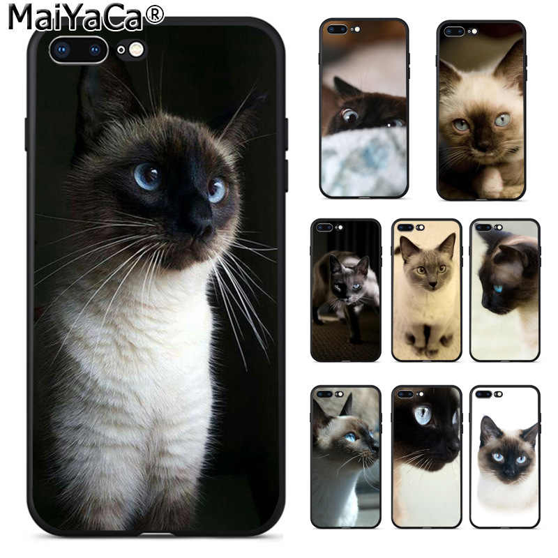 detailed look 4cd93 699e1 MaiYaCa pet siamese cat Luxury Fashion Phone Case for Apple iPhone 8 7 6 6S  Plus X 5 5S SE XS XR XS MAX Cellphones