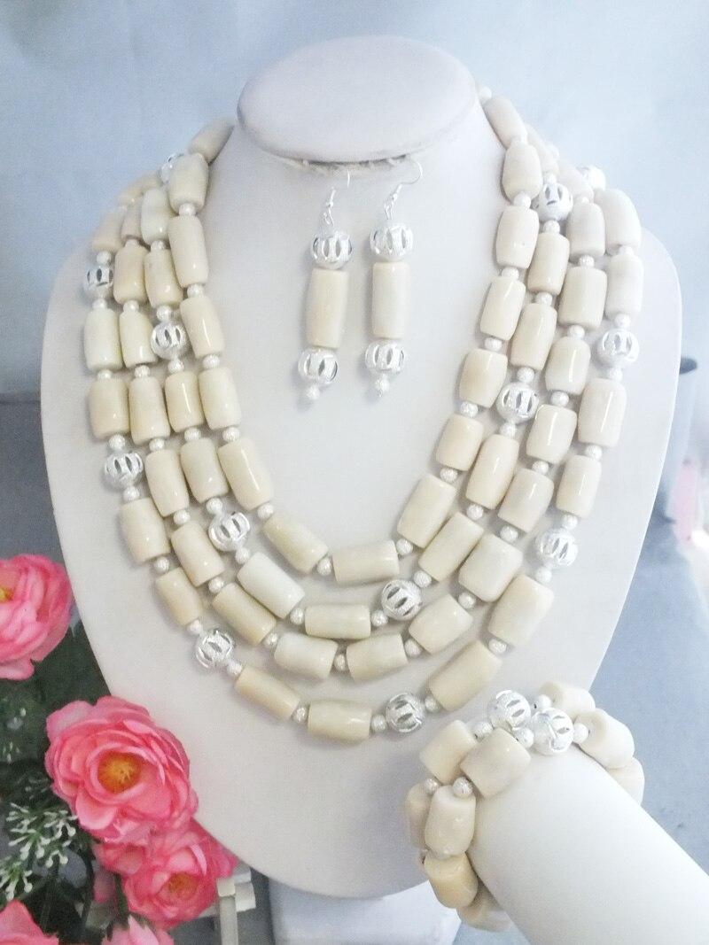 Z 5541 najnowszy przyjazd Handmade afryki biały biżuteria z korali naszyjniki na ślub w Zestawy biżuterii od Biżuteria i akcesoria na  Grupa 2