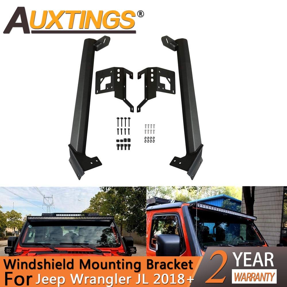 Auxtings 52 Inch LED Work Light bar Steel Upper Windshield Mounting Bracket W Lower Corner Brackets