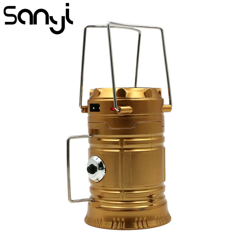 SANYI EU/US Collapsible Solar Portable Camping Lantern Rechargeable Tent Handy Light Lamp Torch For Hiking Emergencies