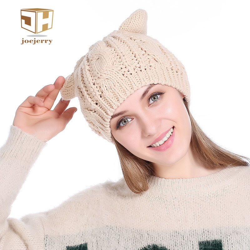 joejerry Knitting Beanies For Grils Women Cold Cap Sweater Wool Cat Ears Hat Cute Beret For Spring Autumn Winter women artist beret cap french style autumn
