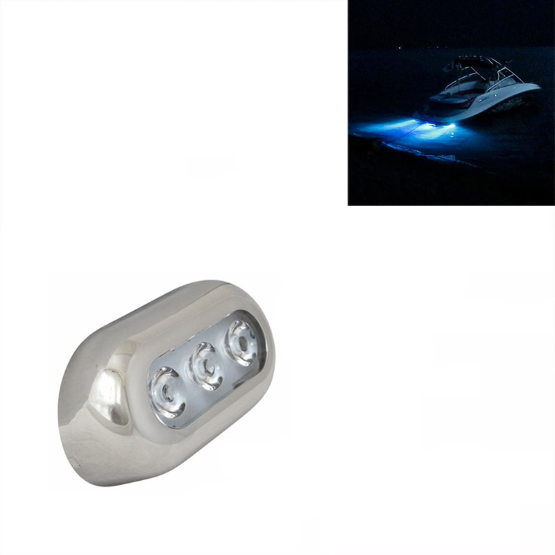 Blue LED Underwater Marine Boat Yacht Light With Stainless Steel Bezel 12V DC