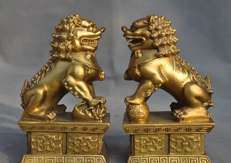 Details about  6 old Chinese Feng Shui brass auspicious wealth foo dog lion beast statue pair  Details about  6 old Chinese Feng Shui brass auspicious wealth foo dog lion beast statue pair