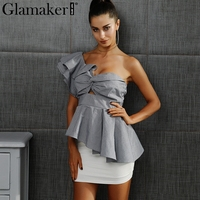 Glamaker Sexy One Shoulder Plaid Ruffle Blouse Shirt Women Casual Asymmetrical Blouse Blusas Female Hollow Out