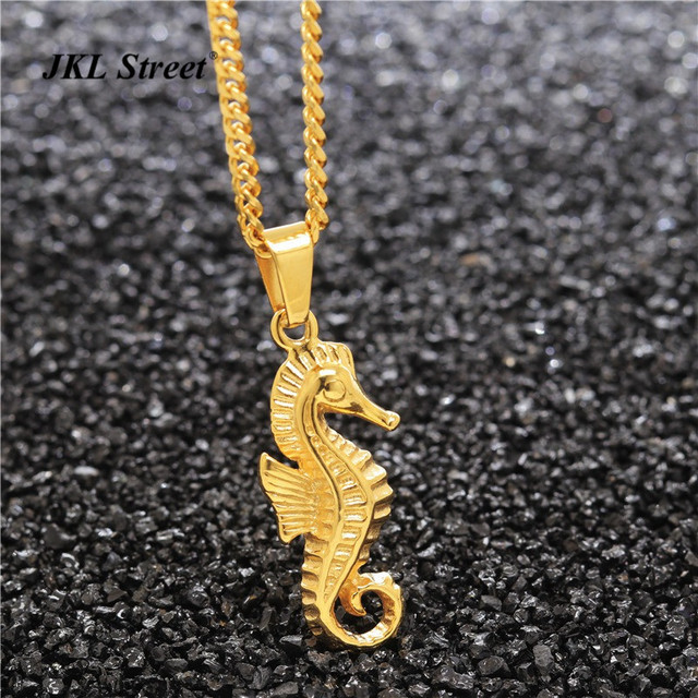 Womens tiny seahorse necklace stainless steel gold tone ocean sea womens tiny seahorse necklace stainless steel gold tone ocean sea horse pendant charm waves aloadofball Images