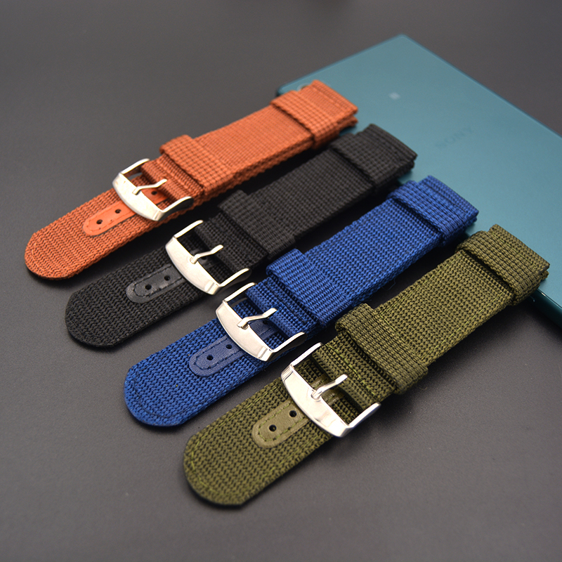 Waterproof sports Watchband 20mm 22mm 24mm 26mm Black Army Green brown blue Nylon Canvas Watch Strap Buckle Leisure Wristbands top grade vintage calfskin genuine leather watch strap 20mm army green tan dark blue green maroon black watchband with buckle
