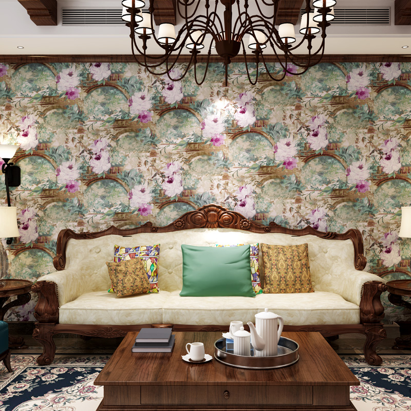 beibehang papel de parede American pastoral countryside retro non-woven wallpaper bedroom living room TV sofa backdrop wallpaper pastoral large flower wallpapers 3d stereoscopic non woven embossed wallpaper for living room bedroom home decor papel de parede