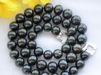 Beautiful 12 15mm ROUND Tahitian Black Freshwater Cultured PEARL NECKLACE 18