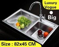 Бесплатная доставка квартира мытья овощей объема кухня двойной паз раковина 304 нержавеющая сталь большой Лидер продаж 820x450 мм
