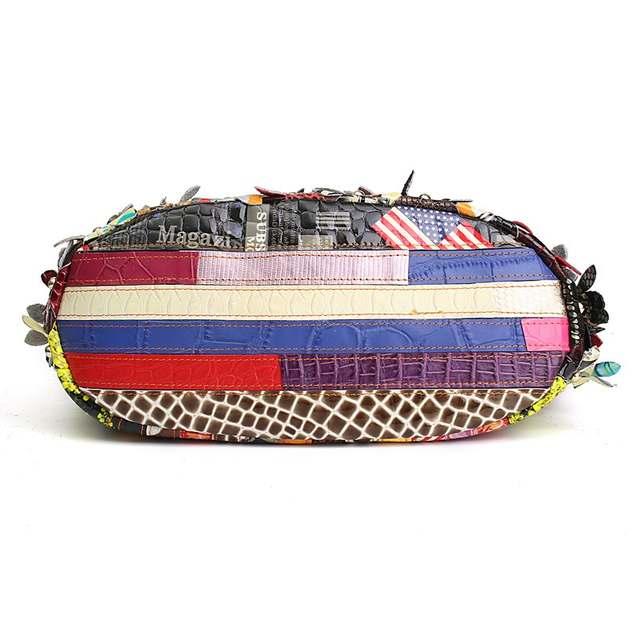 1e8c7e175de0 US $75.27 |AEQUEEN Women Genuine Leather Handbags Ladies Patchwork Tote Bag  Vintage Natural Sheepskin Flower Rivet Crossbody Bags Floral-in Top-Handle  ...