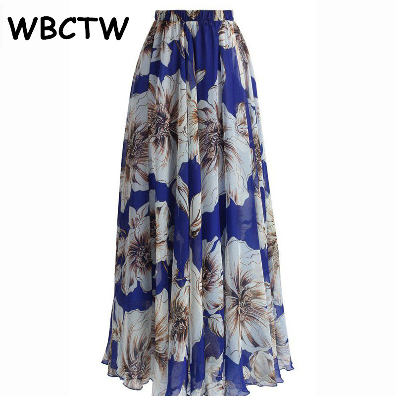 2d294bfb753 WBCTW Long Skirts For Women XXS 10XL Plus Size High Elastic Waist Maxi  Floral Printed Chiffon Skirts Spring Summer Beach Skirt-in Skirts from  Women s ...