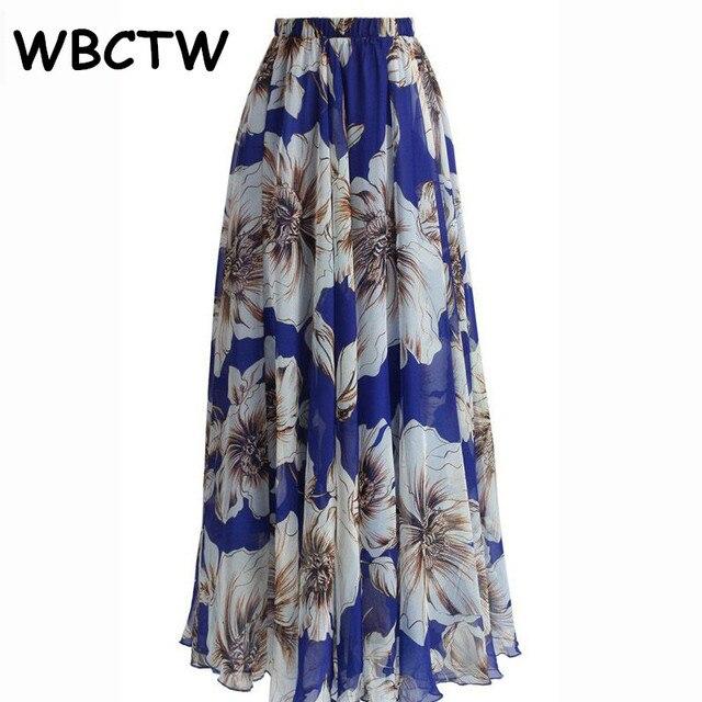 fbb98179a WBCTW Long Skirts For Women XXS-10XL Plus Size High Elastic Waist Maxi  Floral Printed Chiffon Skirts Spring Summer Beach Skirt