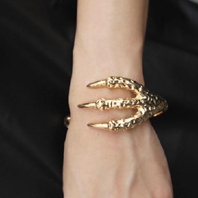 2015 Neuen Mens Vintage Punk Armband Rock Dragon Claw Armbänder Armreifen Geschenk Pulseras Männer Schmuck Farbe Gold/silber Yk2040