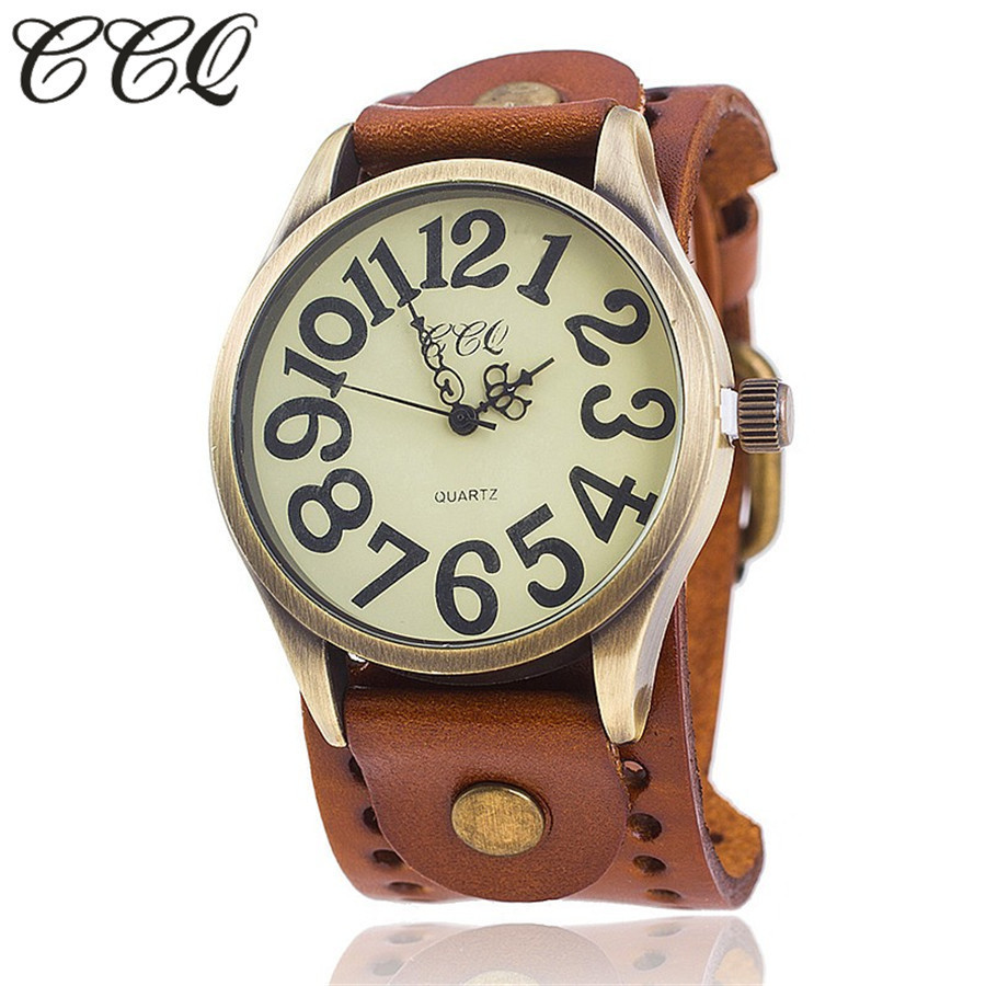 CCQ Brand Vintage Cow Leather Number Dail Watch Casual Women Men Wristwatch Luxury Quartz Watches Relogio Masculino