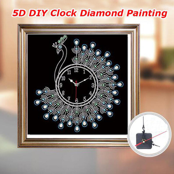 Diamond Painting 3D Special Shaped Diamond Embroidery Peacock Wall Clock 5D Cross Stitch Watch Diamond Mosaic Decor фото