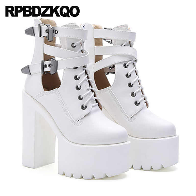 ac0ede54780 Fall Shoes Rock White Booties Extreme Belts Chunky Black High Heel Ankle  Lace Up Women Zipper 15cm Gothic Platform Boots Punk