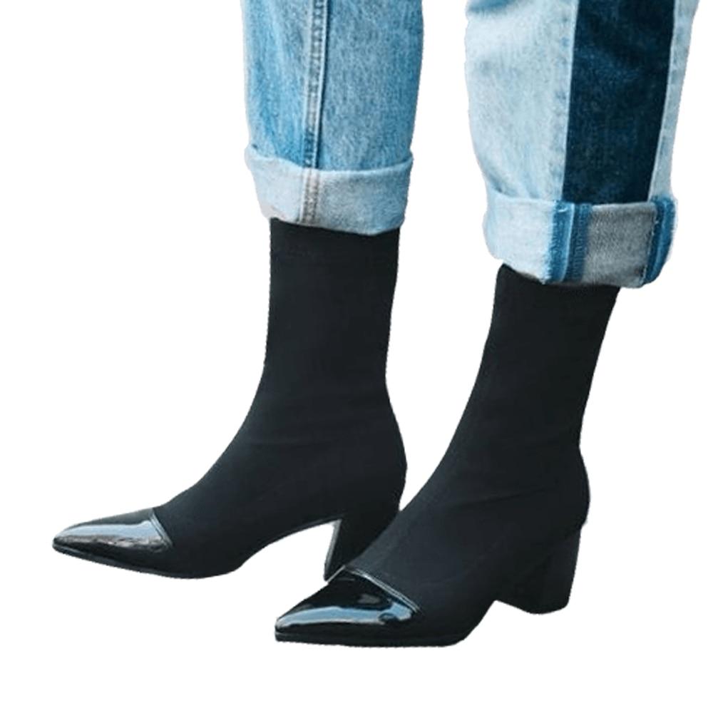 Meotina hiver mi-mollet bottes femmes tissu élastique bout pointu talon carré bottes automne mode chaussures femme noir taille 9 10