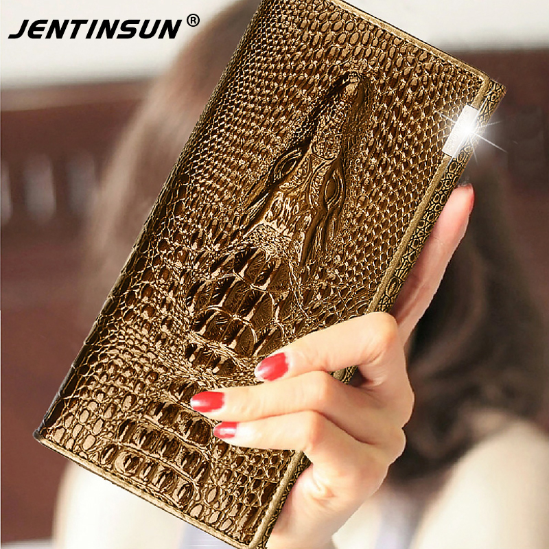 Women Wallets Brand Design High Quality Genuine Leather Wallet Female Hasp Fashion Crocodile Pattern Long Purse Card Holder makorster women wallets brand design high quality hasp leather wallet female fashion dollar price long wallets for women yy155