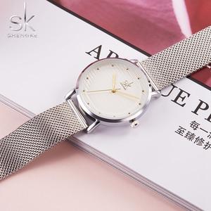 Image 2 - Shengke מותג אופנה שעוני יד נשים נירוסטה בנד נשים שמלה שעונים נשים קוורץ שעון Relogio Feminino החדש SK