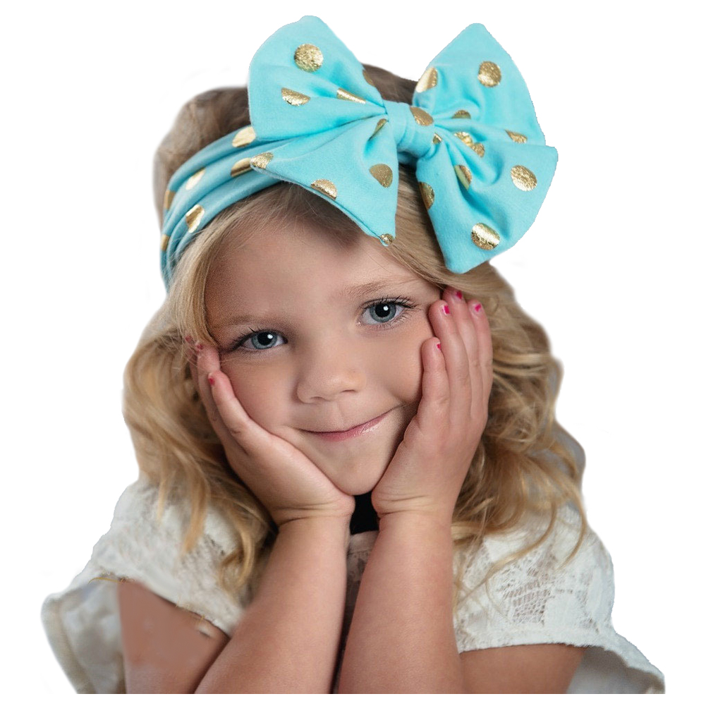 KEOL Best Sale Top-Fashion Baby Infant Girl Gilding Big Bow Knot Dot Headband Kid Toddler Hair Accessories (light blue)