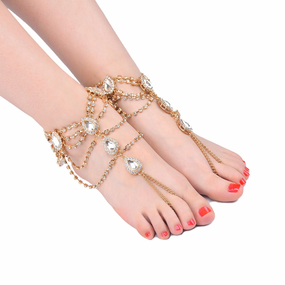 Barefoot Sandals Rhinestone Wedding Sandals Anklet Foot Jewelry for Bride Barefoot Sandles Kundan Anklet Slave