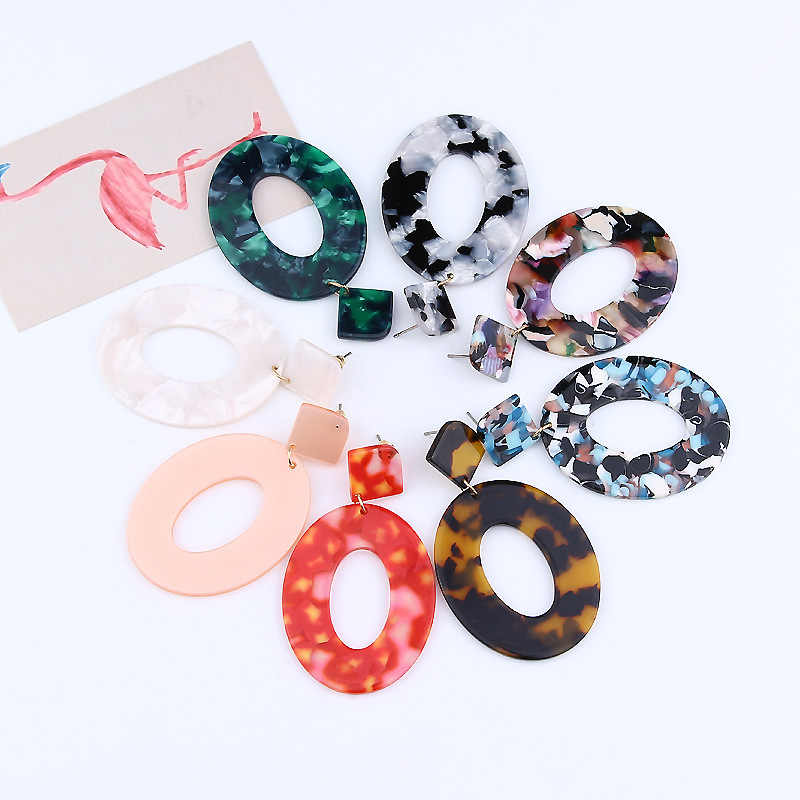 Jewelry Acrylic Resin Oval Dangle Earrings For Women Geometry Big Circle Tortoiseshell Earrings Acetate