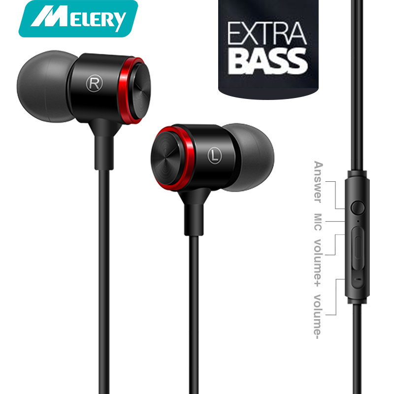 все цены на Melery wire earphone extra bass straight line PC subwoofer headset in-ear metal sports music phone earphone with Mic for phone