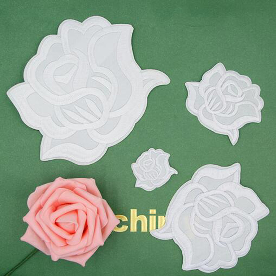 White Rose Folwer Patches Cap Shoe Iron On Embroidered Appliques DIY ...