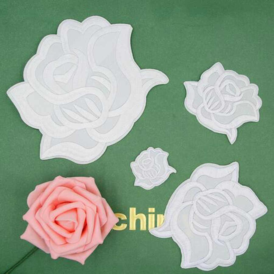 Geborduurde wit rose bloem patch cap kleding stickers tas naaien ijzer op applique diy apparel naaien kleding accessoires bu102