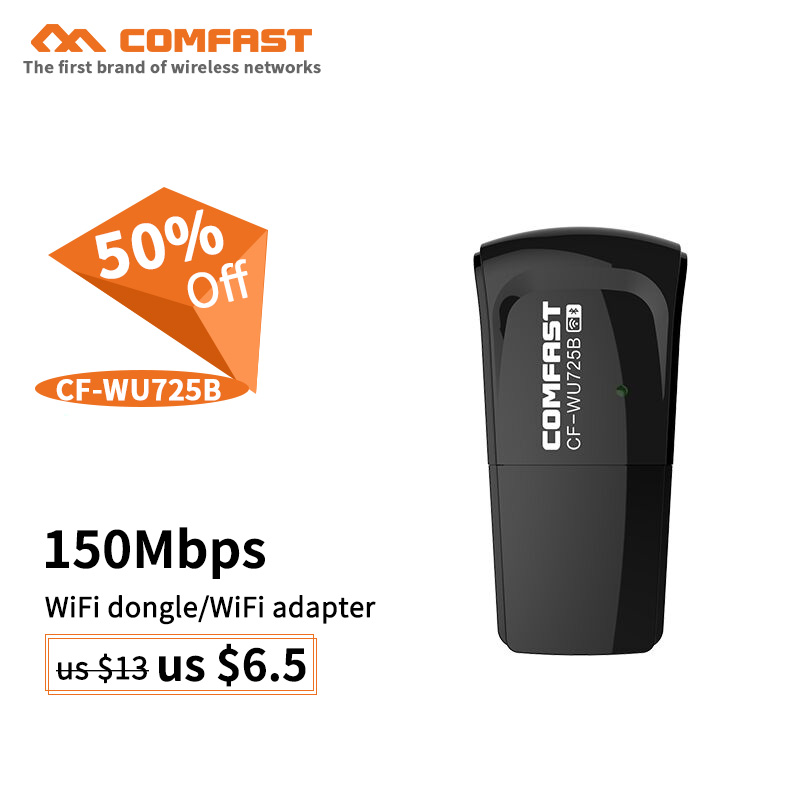 COMFAST Bluetooth4.0 +WIFI 150Mbps wifi dongle RTL8723BU chipset 802.11n Wifi USB adaptador CF-WU725B wifi receiver/transmitter