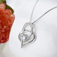 Tuliper Love Heart Bridal Charm Necklace Pendant 925 Sterling Silver Cubic Zircon For Women Party Valentine Top Gift