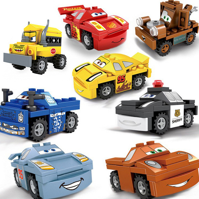 1pc Random Color 8 Style Racing Car Compatibie Legoing Building Blocks Toy Kit DIY Educational Children Christmas Birthday Gift